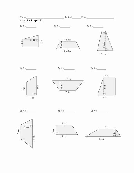 Area Of Trapezoid Worksheet Elegant area Of A Trapezoid Worksheet for 7th 8th Grade