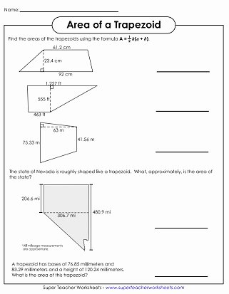 Area Of Trapezoid Worksheet Elegant area Of Parallelograms & Trapezoids Worksheets