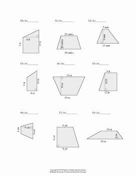 Area Of Trapezoid Worksheet Elegant area Of Trapezoid Worksheet by Family 2 Family Learning