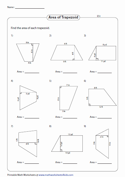 Area Of Trapezoid Worksheet Elegant Quadrilateral Worksheets