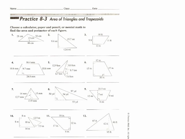 Area Of Trapezoid Worksheet Fresh area Of Triangles and Trapezoids Worksheet for 10th Grade