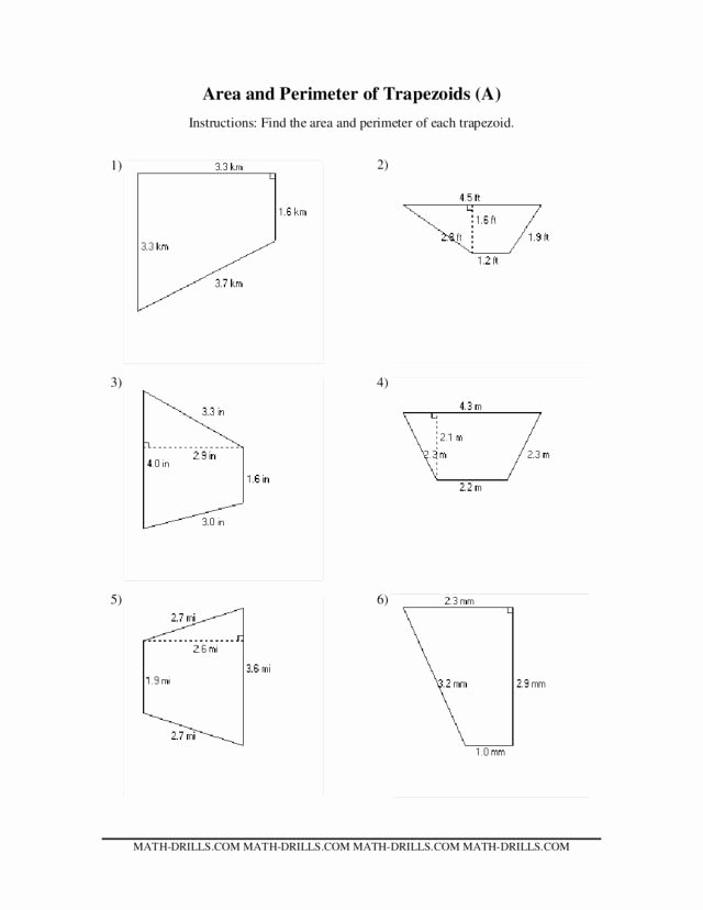 Area Of Trapezoid Worksheet Inspirational area and Perimeter Of Trapezoids A Worksheet for 5th
