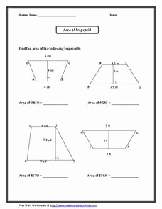 Area Of Trapezoid Worksheet Inspirational area Of A Trapezoid Worksheet for 6th 8th Grade