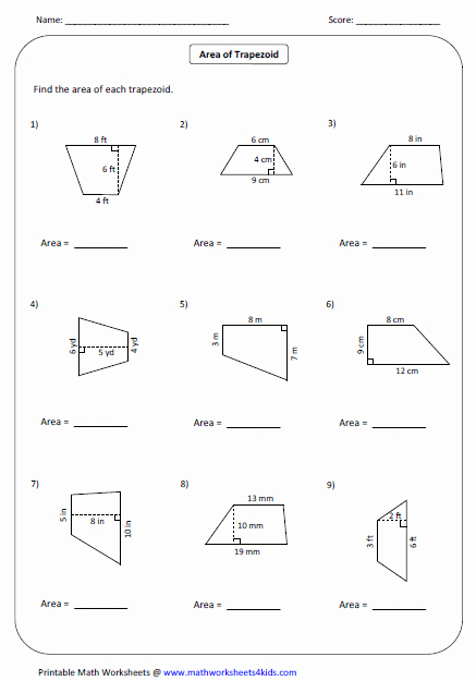 Area Of Trapezoid Worksheet Inspirational Quadrilateral Worksheets