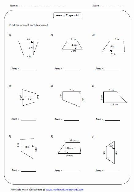 Area Of Trapezoid Worksheet Lovely area Trapezoid Worksheet