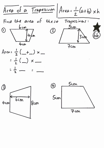 Area Of Trapezoid Worksheet Luxury area Of A Trapezium Lesson by Ryangoldspink Teaching