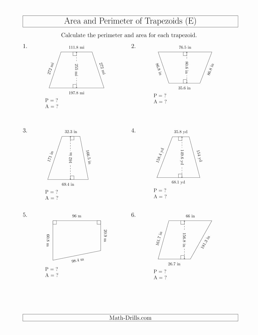 Area Of Trapezoid Worksheet New Calculating the Perimeter and area Of Trapezoids R