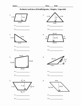 Area Of Trapezoid Worksheet New Free Perimeter and area Of Parallelograms Triangles and
