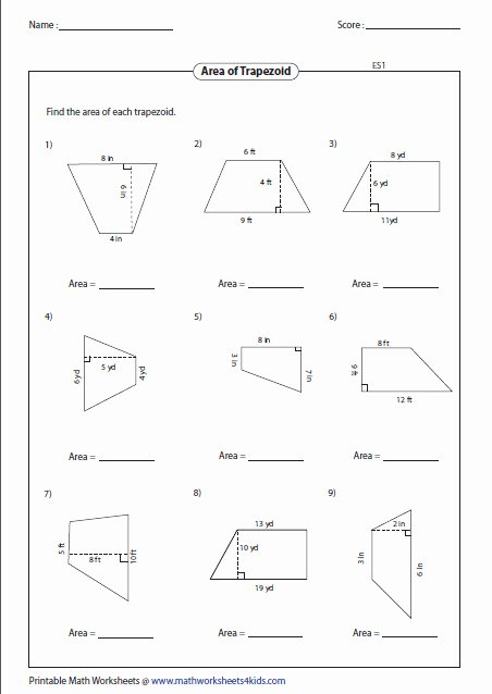 Area Of Trapezoid Worksheet Unique area Trapezoid Worksheet