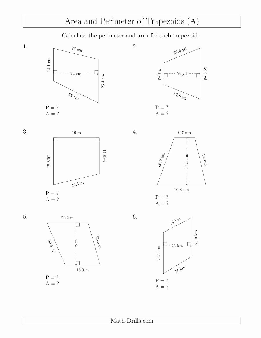 Area Of Trapezoid Worksheet Unique Calculating the Perimeter and area Of Trapezoids even