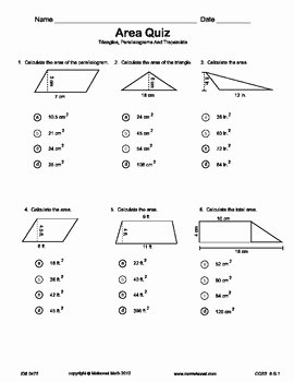 Area Of Triangles Worksheet Pdf Awesome Quiz area Triangles Parallelograms Trapezoids