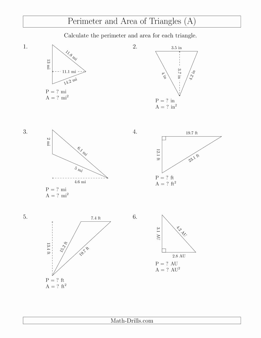Area Of Triangles Worksheet Pdf Best Of Calculating the Perimeter and area Of Triangles Rotated