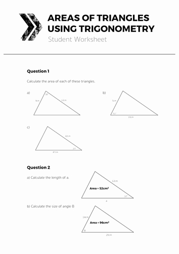 Area Of Triangles Worksheet Pdf Elegant areas Of Triangles Using Trigonometry Plete Lesson by