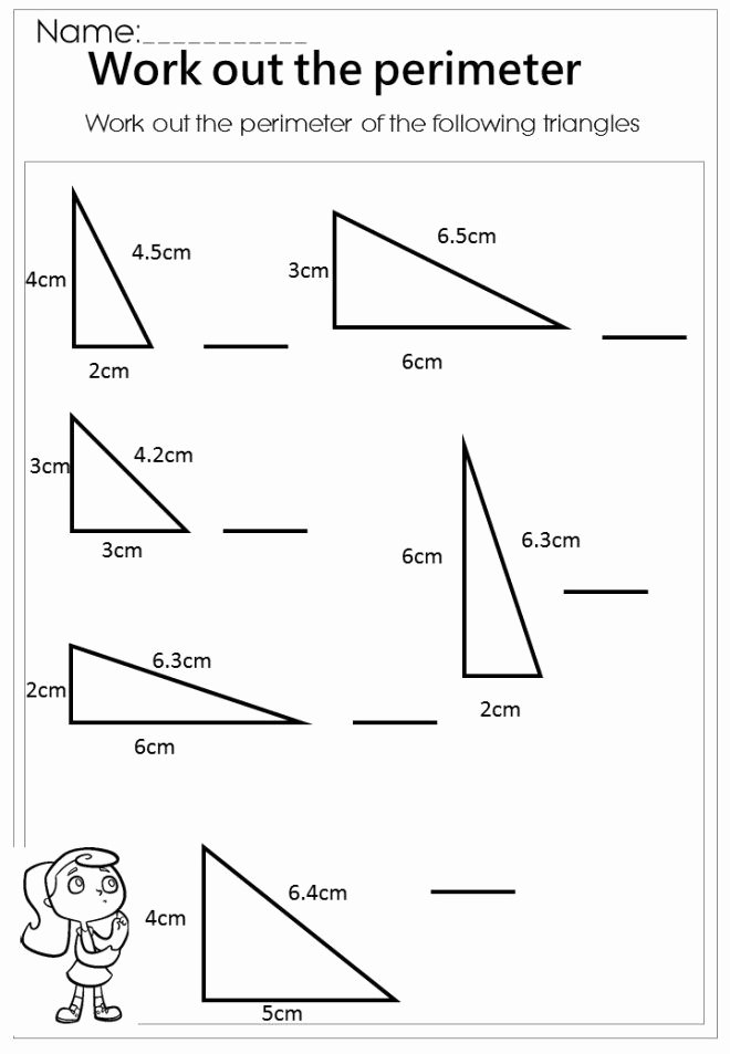 Area Of Triangles Worksheet Pdf Elegant Measure the Perimeter Triangle Worksheet