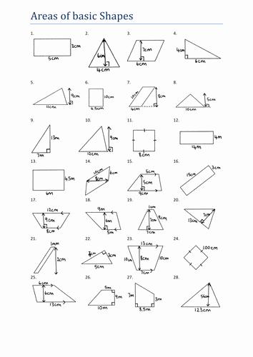 Area Of Triangles Worksheet Pdf Fresh area Of Basic Shapes Worksheet Ks3 by Tristanjones