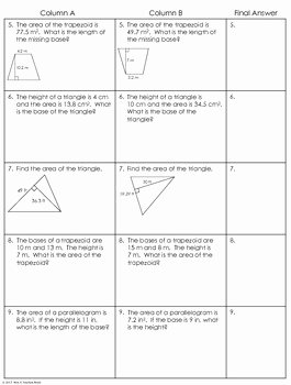 Area Of Triangles Worksheet Pdf New area Of Triangles Parallelograms and Trapezoids Partner