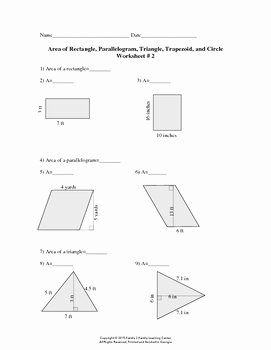 Area Of Triangles Worksheet Pdf Unique area Of Rectangle Parallelogram Triangle Trapezoid and