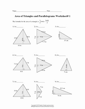 Area Of Triangles Worksheet Pdf Unique area Of Triangles and Parallelograms Worksheet 1