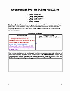 Argumentative Essay Outline Worksheet Inspirational Argumentative Essay Fill In the Blank Outline Graphic