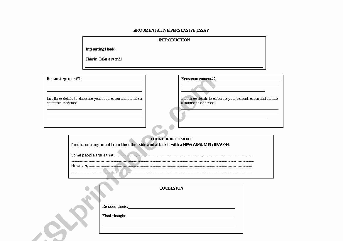 Argumentative Essay Outline Worksheet Lovely Argumentative Essay Outline Worksheet