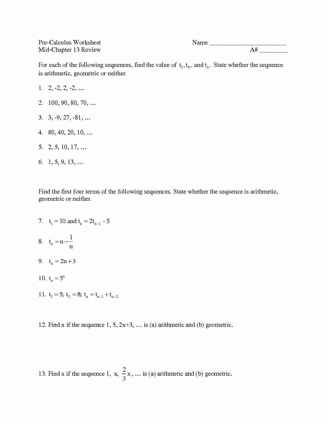 Arithmetic and Geometric Sequences Worksheet Awesome 51 Arithmetic Sequences and Series Worksheet Geometric