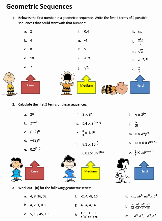 Arithmetic and Geometric Sequences Worksheet Best Of Sequences