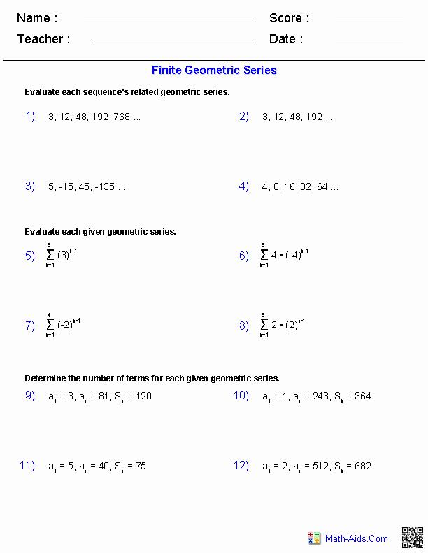 Arithmetic and Geometric Sequences Worksheet Elegant Finite Geometric Series Worksheets