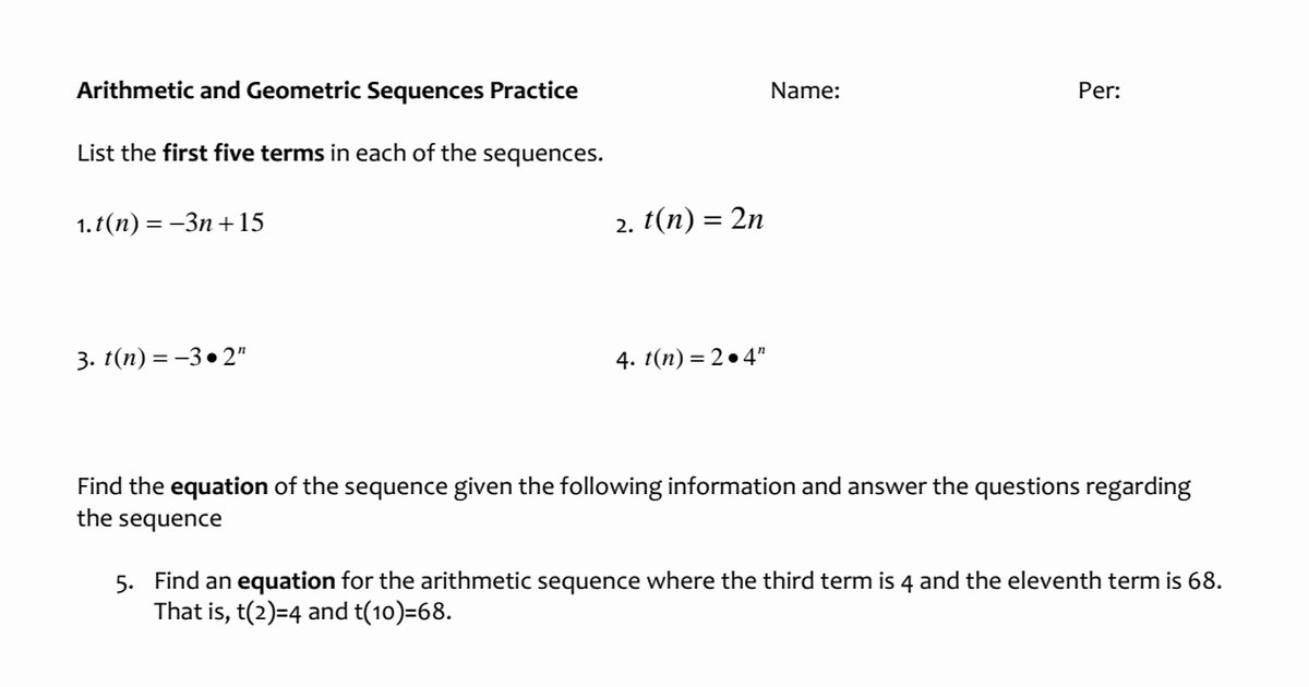 Arithmetic and Geometric Sequences Worksheet Fresh Arithmetic and Geometric Sequences Worksheet