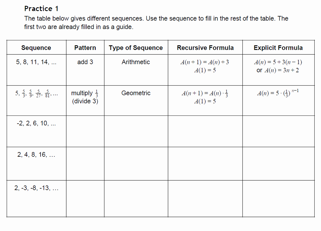 Arithmetic and Geometric Sequences Worksheet Inspirational Arithmetic Sequence Worksheets Pdf