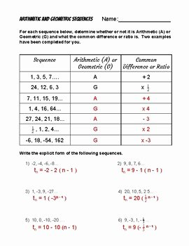 Arithmetic and Geometric Sequences Worksheet Inspirational Explicit form Of Arithmetic and Geometric Sequences