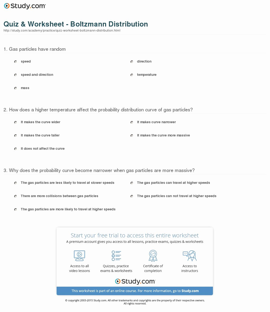 Arithmetic and Geometric Sequences Worksheet Inspirational Quiz & Worksheet Boltzmann Distribution