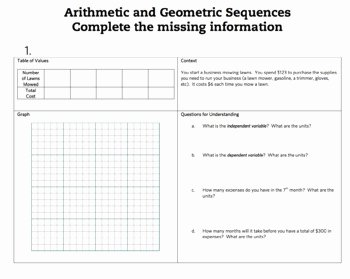Arithmetic and Geometric Sequences Worksheet Luxury Intro to Arithmetic and Geo by Lindsey Henderson