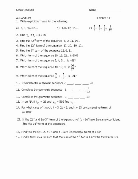 Arithmetic and Geometric Sequences Worksheet New Arithmetic and Geometric Sequences Worksheet for 11th