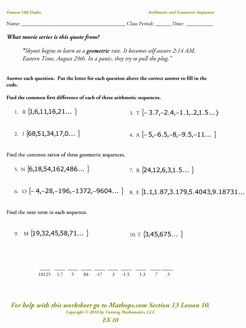 Arithmetic Sequence Worksheet Algebra 1 Luxury Ex 10 Arithmetic and Geometric Sequences Mathops