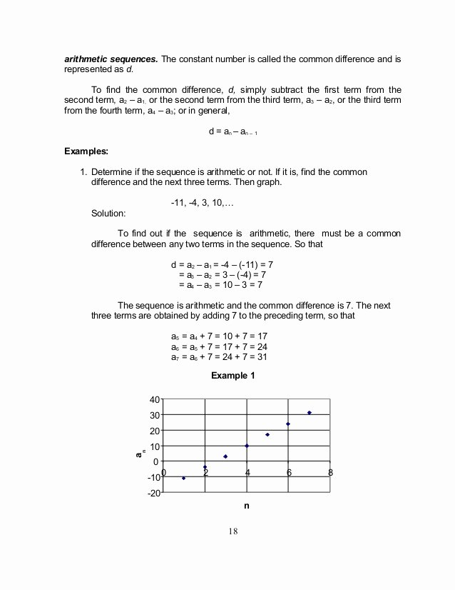 Arithmetic Sequence Worksheet Algebra 1 New Grade 10 Math Module 1 Searching for Patterns Sequence