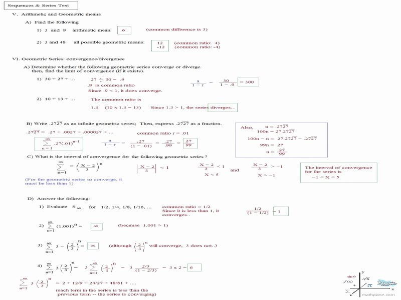 Arithmetic Sequence Worksheet Answers Awesome Arithmetic Sequence Worksheet Answers Free Printable