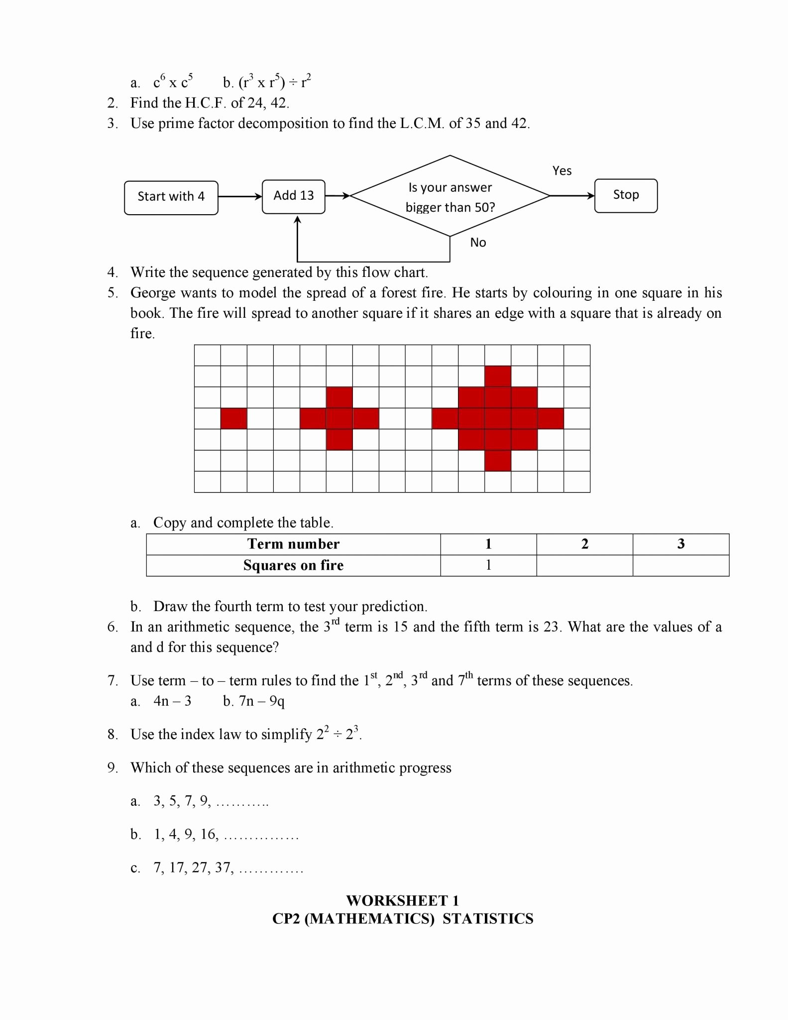 Arithmetic Sequence Worksheet Answers Awesome Arithmetic Sequences Worksheet 1 Answer Key