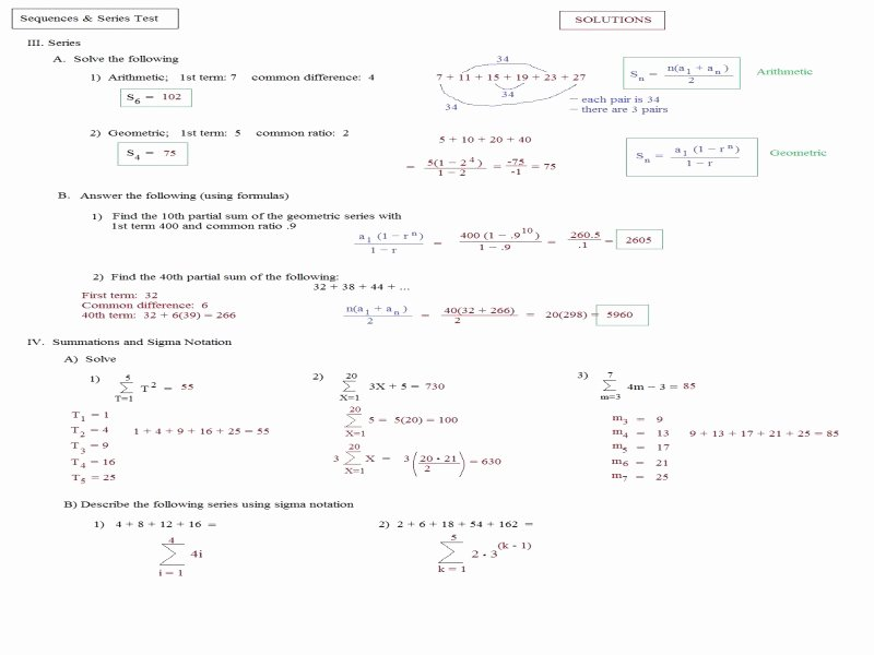Arithmetic Sequence Worksheet Answers Best Of Arithmetic Sequence Worksheet Answers Free Printable