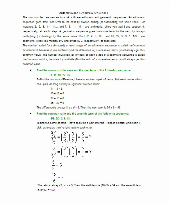 Arithmetic Sequence Worksheet Answers Lovely Arithmetic and Geometric Sequences Worksheet Answers