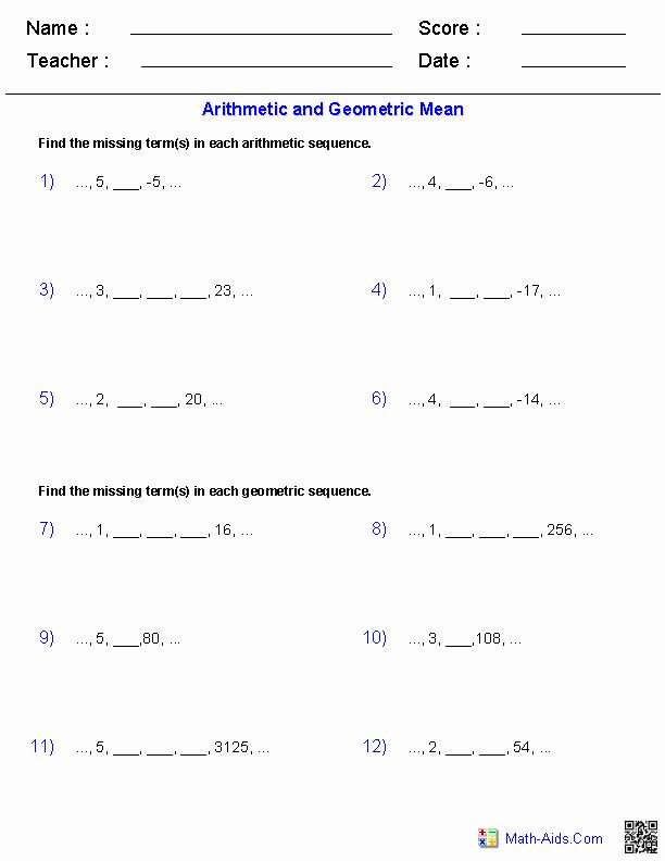 Arithmetic Sequence Worksheet Answers Luxury Algebra 2 Worksheets