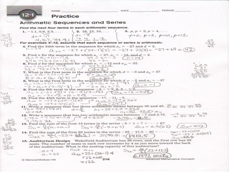 Arithmetic Sequence Worksheet Answers New Arithmetic Sequence Worksheet Answers Free Printable
