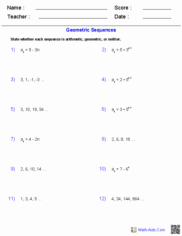 Arithmetic Sequence Worksheet Answers Unique Algebra 2 Worksheets