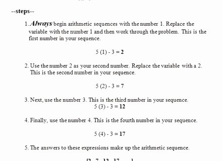 Arithmetic Sequence Worksheet with Answers Best Of 24 Beautiful Arithmetic Sequence Worksheet with Answers