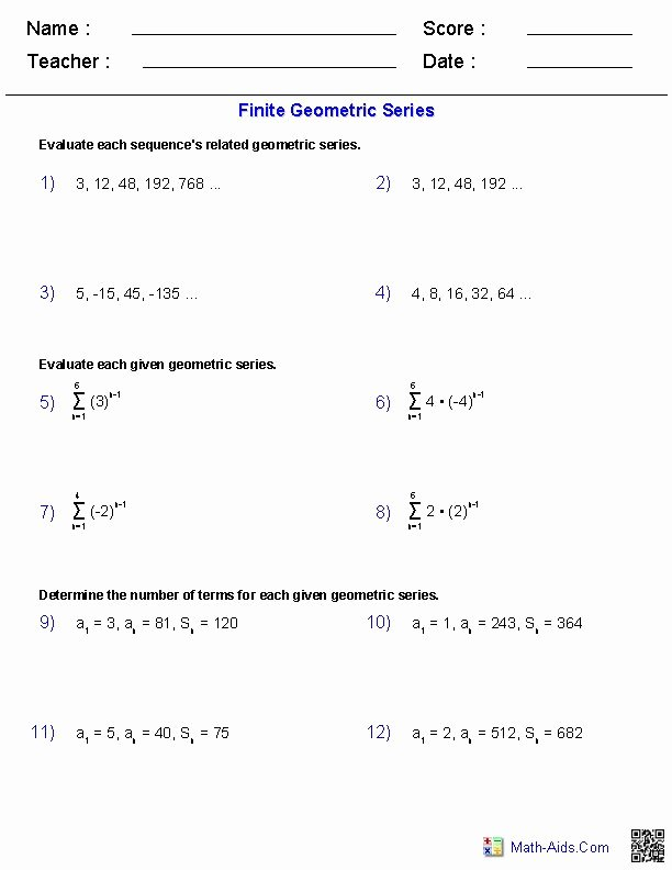 Arithmetic Sequence Worksheet with Answers Best Of Finite Geometric Series Worksheets