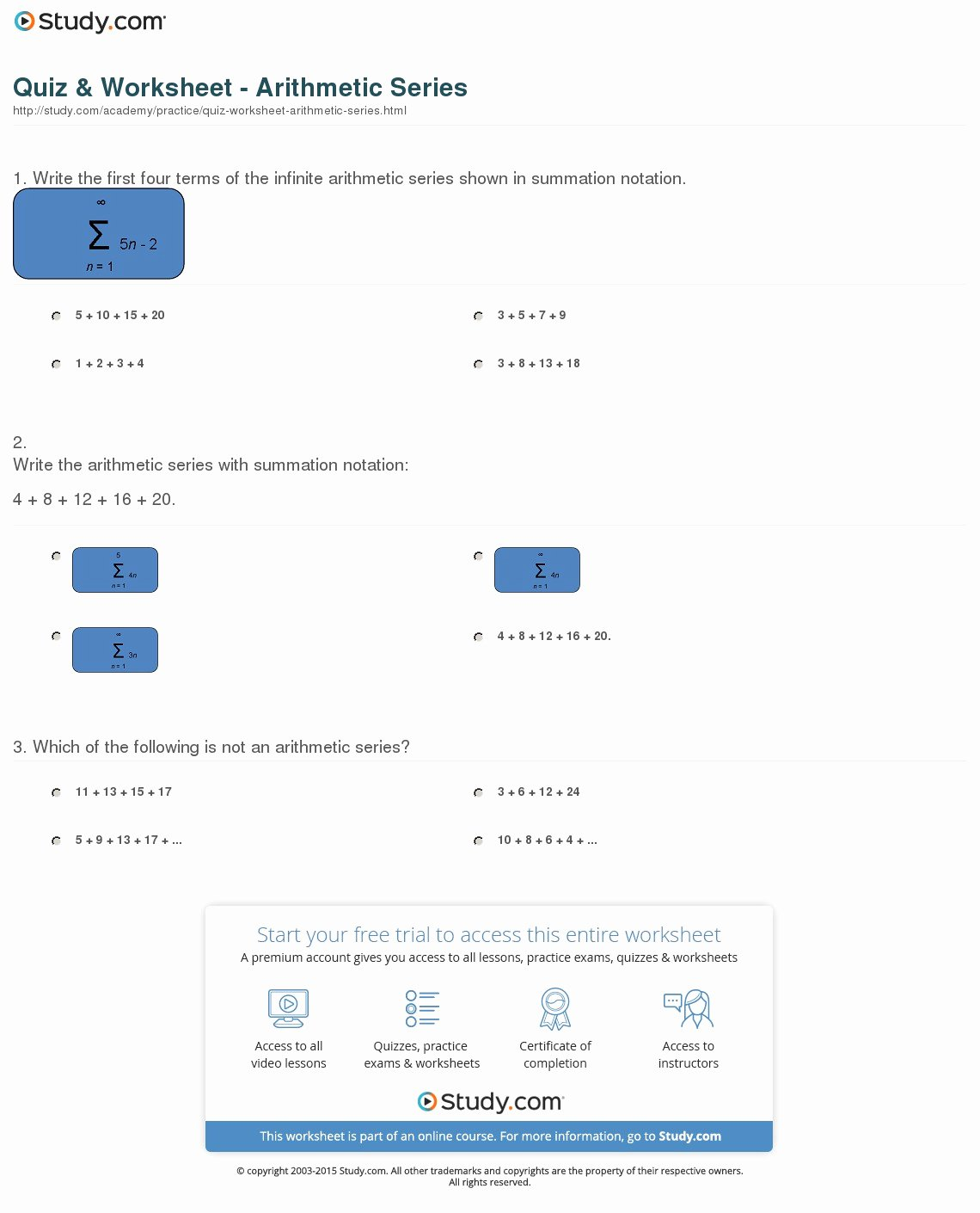 Arithmetic Sequences and Series Worksheet Beautiful Quiz & Worksheet Arithmetic Series