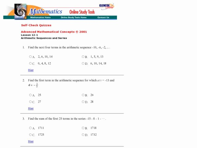 Arithmetic Sequences and Series Worksheet Best Of Sequences and Series Lesson Plans & Worksheets