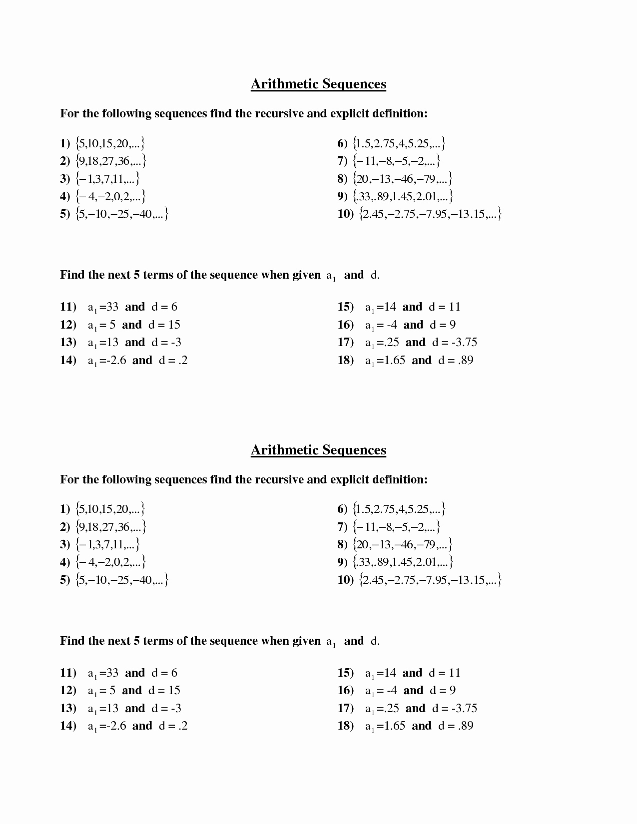 Arithmetic Sequences and Series Worksheet New 51 Arithmetic Sequences and Series Worksheet Arithmetic