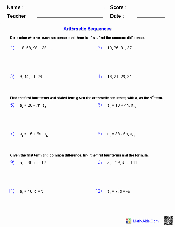 Arithmetic Sequences and Series Worksheet Unique Algebra 2 Worksheets