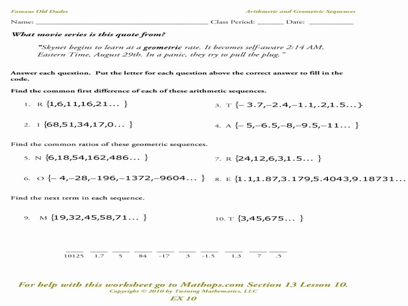 Arithmetic Sequences and Series Worksheet Unique Year 12 Arithmetic and Geometric Series & Sequences
