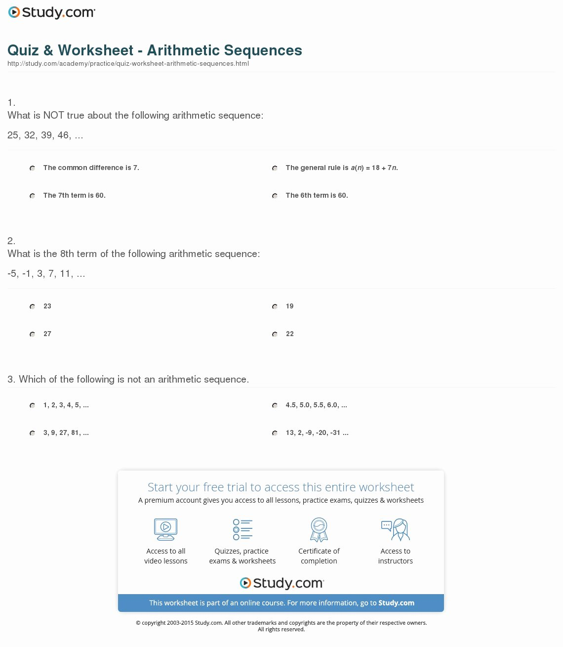 quiz worksheet arithmetic sequences